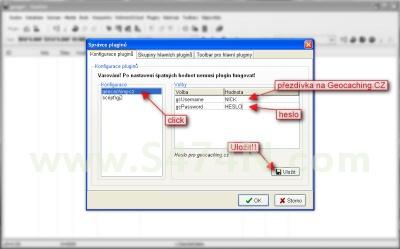 Úvodní nastavení - konfigurace pro Geocaching.cz