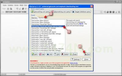 Úvodní nastavení - klikněte na Queries, vyberte Geocaches I found (all, listings and my logs) a potom Run